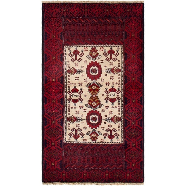 eCarpetGallery Hand-knotted Finest Baluch Cream, Red Wool Rug - 2'10 x 5'3