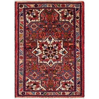 eCarpetGallery Hand-knotted Hamadan Red Wool Rug - 3'5 x 4'11