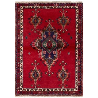 eCarpetGallery  Hand-knotted Afshar Red Wool Rug - 3'3 x 4'7
