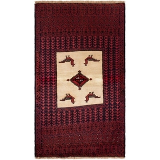 eCarpetGallery  Hand-knotted Finest Baluch Red Wool Rug - 2'10 x 5'1