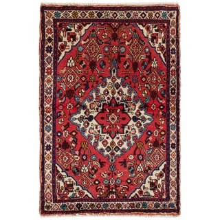 eCarpetGallery  Hand-knotted Hamadan Red Wool Rug - 3'6 x 5'5