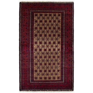 eCarpetGallery  Hand-knotted Finest Baluch Khaki, Red Wool Rug - 3'1 x 5'1
