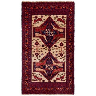 eCarpetGallery  Hand-knotted Finest Baluch Ivory, Red Wool Rug - 3'1 x 5'6