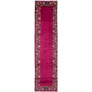 eCarpetGallery  Hand-knotted Tabriz Dark Red Wool Rug - 2'9 x 15'5