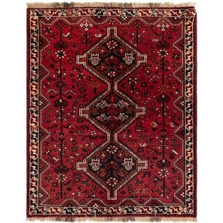 eCarpetGallery  Hand-knotted Shiraz Red Wool Rug - 4'11 x 6'2