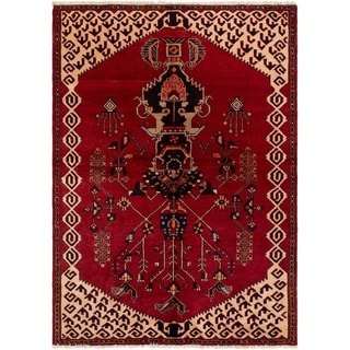 eCarpetGallery  Hand-knotted Kurdish Select Red Wool Rug - 4'8 x 6'6