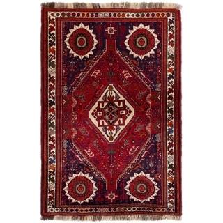 eCarpetGallery  Hand-knotted Shiraz Qashqai Red Wool Rug - 3'10 x 5'11
