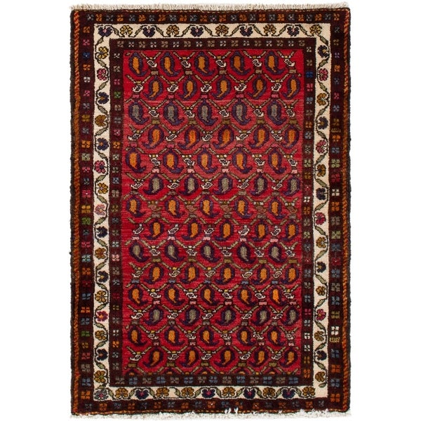 eCarpetGallery Hand-knotted Hamadan Red Wool Rug - 2'8 x 3'10