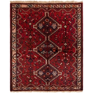 eCarpetGallery  Hand-knotted Shiraz Red Wool Rug - 6'6 x 6'4