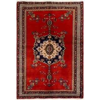 eCarpetGallery  Hand-knotted Afshar Red Wool Rug - 4'4 x 6'3