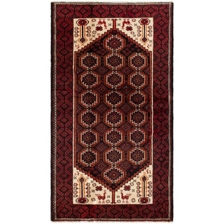eCarpetGallery  Hand-knotted Finest Baluch Ivory, Red Wool Rug - 3'10 x 6'10