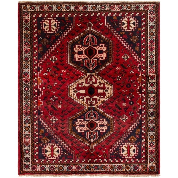 eCarpetGallery Hand-knotted Shiraz Red Wool Rug - 5'1 x 6'4