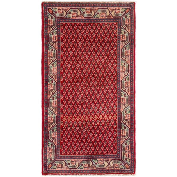 eCarpetGallery Hand-knotted Sarough Red Wool Rug - 2'2 x 4'2