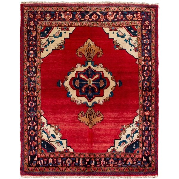 eCarpetGallery Hand-knotted Lilihan Red Wool Rug - 5'5 x 6'8