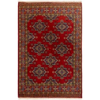 eCarpetGallery  Hand-knotted Turkoman Red Wool Rug - 4'10 x 7'1
