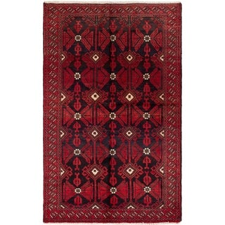 eCarpetGallery  Hand-knotted Finest Baluch Red Wool Rug - 4'2 x 6'9
