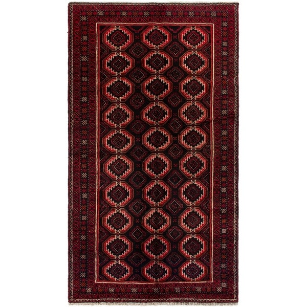 eCarpetGallery Hand-knotted Finest Baluch Black, Red Wool Rug - 4'2 x 7'5