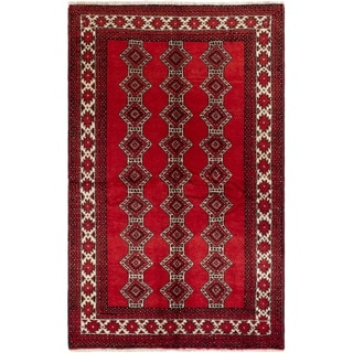eCarpetGallery  Hand-knotted Finest Baluch Red Wool Rug - 4'3 x 6'11