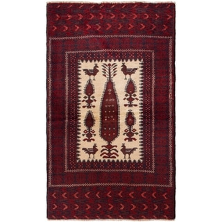 eCarpetGallery  Hand-knotted Finest Baluch Ivory, Red Wool Rug - 2'9 x 4'9