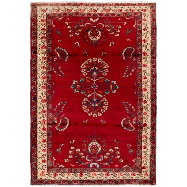 eCarpetGallery Hand-knotted Finest Baluch Red Wool Rug - 4'3 x 6'2