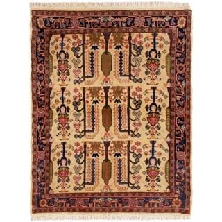 eCarpetGallery  Hand-knotted Koliai Cream Wool Rug - 3'5 x 4'4