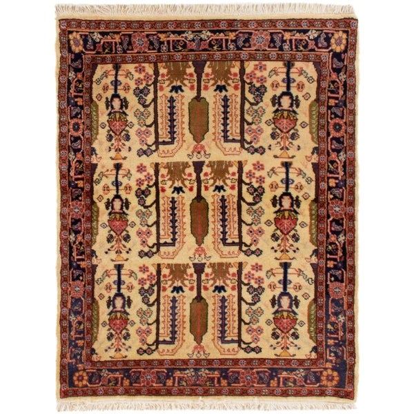 eCarpetGallery Hand-knotted Koliai Cream Wool Rug - 3'5 x 4'4