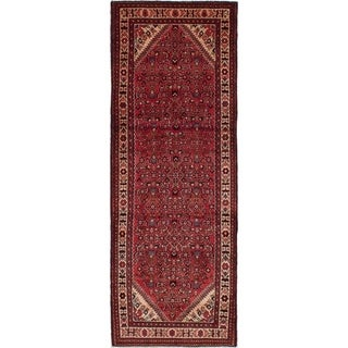 eCarpetGallery  Hand-knotted Hosseinabad Red Wool Rug - 2'11 x 10'7