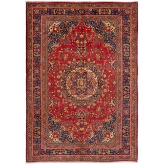 ECARPETGALLERY Hand-knotted Hamadan Red Wool Rug - 6'8 x 9'7