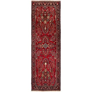 ECARPETGALLERY Hand-knotted Hamadan Red Wool Rug - 2'11 x 9'3