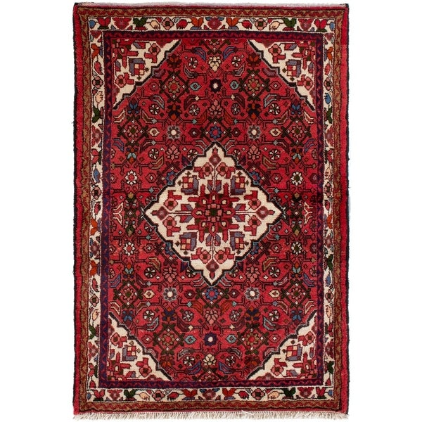 eCarpetGallery Hand-knotted Hamadan Red Wool Rug - 3'8 x 5'5
