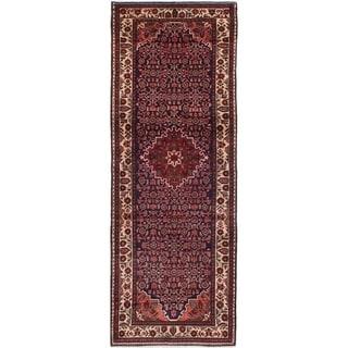 eCarpetGallery  Hand-knotted Hosseinabad Dark Navy Wool Rug - 3'8 x 10'2