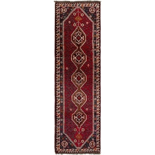 ECARPETGALLERY Hand-knotted Shiraz Red Wool Rug - 2'6 x 9'3