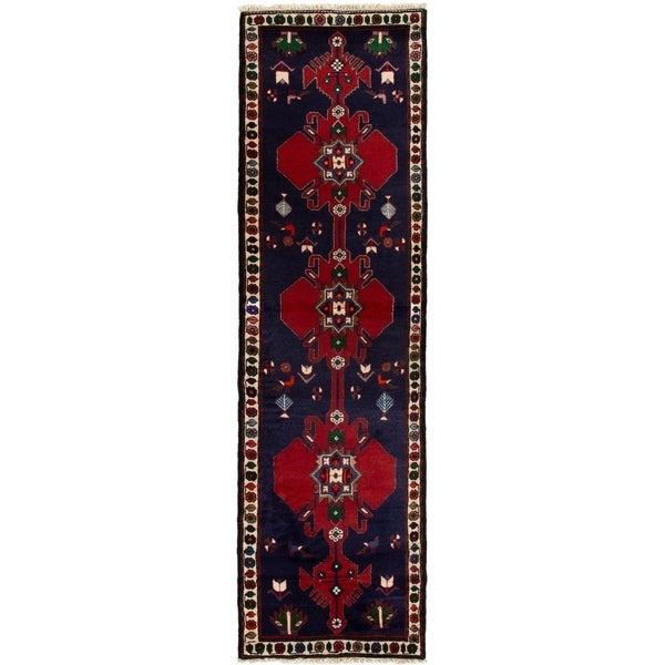 ECARPETGALLERY Hand-knotted Afshar Navy Blue, Red Wool Rug - 2'11 x 9'5