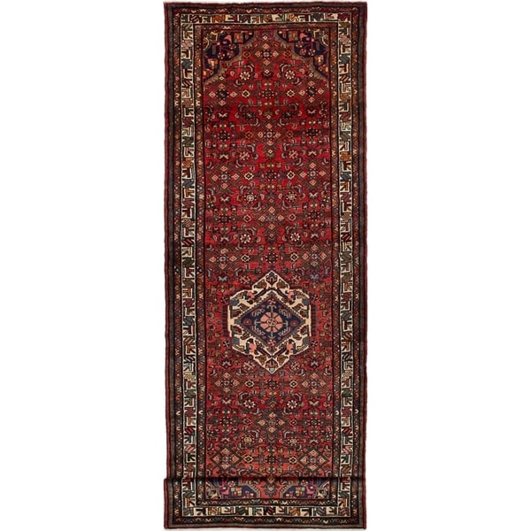 eCarpetGallery Hand-knotted Hosseinabad Red Wool Rug - 3'7 x 11'7