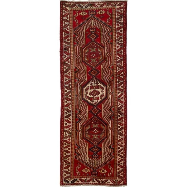 eCarpetGallery Hand-knotted Meshkin Red Wool Rug - 3'4 x 10'7