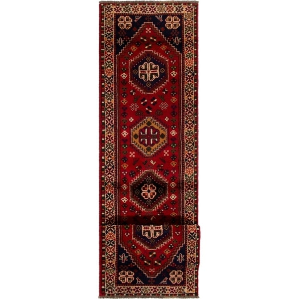ECARPETGALLERY Hand-knotted Shiraz Qashqai Red Wool Rug - 2'5 x 9'9