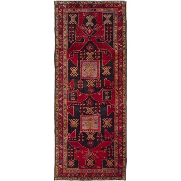 eCarpetGallery Hand-knotted Sarab Dark Navy, Red Wool Rug - 3'8 x 9'6