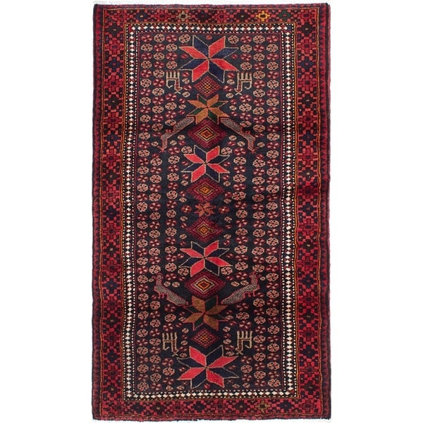 eCarpetGallery Hand-knotted Asadabad Dark Navy, Red Wool Rug - 3'7 x 6'3