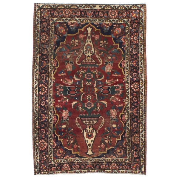 eCarpetGallery Hand-knotted Bakhtiar Dark Copper Wool Rug - 4'2 x 6'3