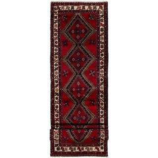 ECARPETGALLERY Hand-knotted Hamadan Red Wool Rug - 2'9 x 10'0