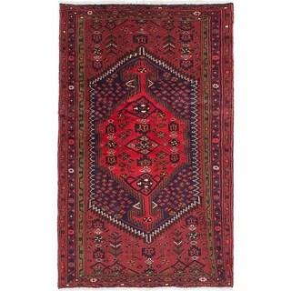 eCarpetGallery  Hand-knotted Hamadan Dark Red Wool Rug - 4'0 x 6'8