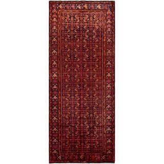 ECARPETGALLERY Hand-knotted Hamadan Red Wool Rug - 5'2 x 13'8