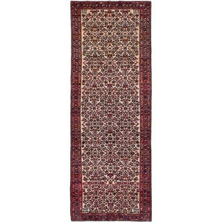 eCarpetGallery  Hand-knotted Hosseinabad Cream Wool Rug - 3'9 x 10'5