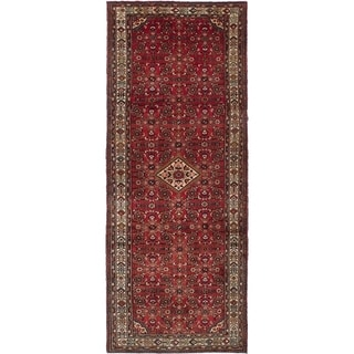 eCarpetGallery  Hand-knotted Hosseinabad Red Wool Rug - 4'6 x 11'5