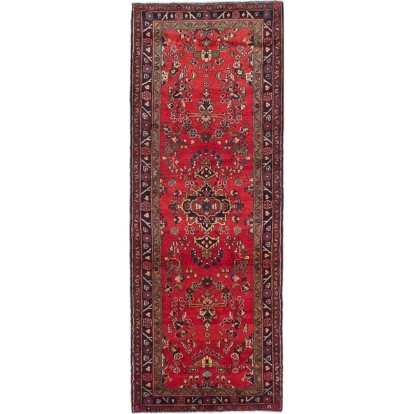 eCarpetGallery Hand-knotted Hamadan Red Wool Rug - 3'7 x 9'11