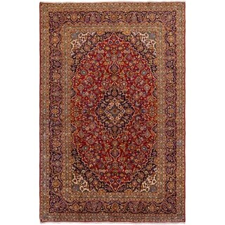 ECARPETGALLERY Hand-knotted Kashan Red Wool Rug - 8'0 x 12'4