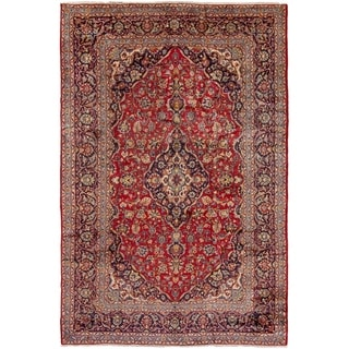 ECARPETGALLERY Hand-knotted Kashan Red Wool Rug - 7'10 x 11'11