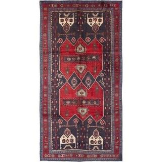 eCarpetGallery  Hand-knotted Zanjan Dark Navy, Red Wool Rug - 4'9 x 9'5