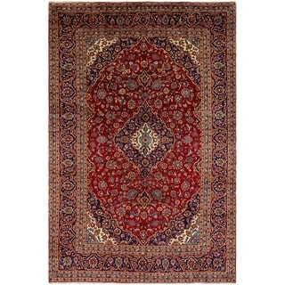 ECARPETGALLERY Hand-knotted Kashan Red Wool Rug - 7'11 x 12'1