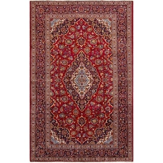 ECARPETGALLERY Hand-knotted Kashan Red Wool Rug - 6'5 x 10'3